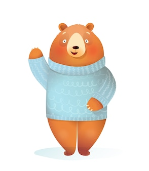 Funny kids bear wearing knitted sweater standing waving hello, winter and christmas kids greeting card character. kids cheerful animal illustration, cartoon in watercolor style.