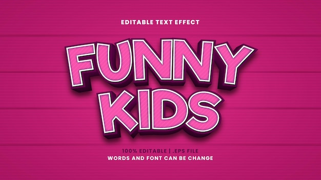 Funny kids editable text effect in modern 3d style