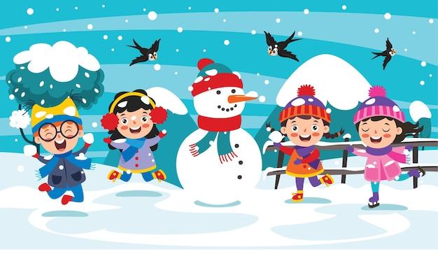 Веселые дети веселятся в зимний сезон