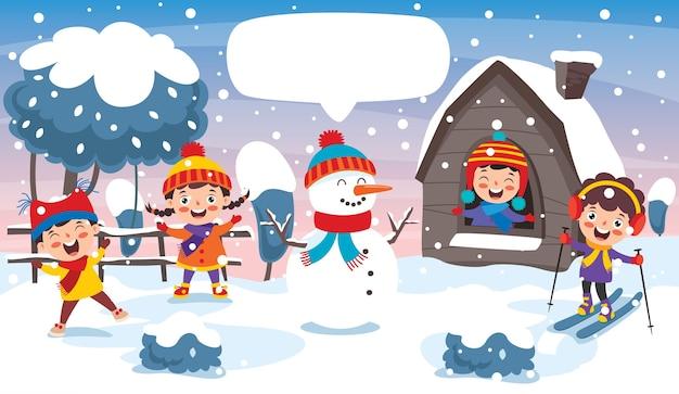 Funny kids having fun on winter season