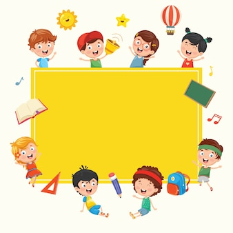 Funny Kids Holding Blank Board