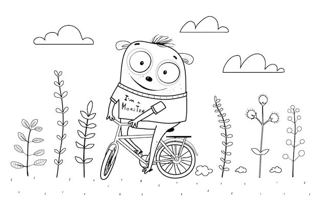 Funny kids monster riding a bicycle in nature with flowers children coloring page outline cartoon