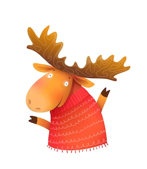 Funny kids moose or elk wearing knitted sweater, wintertime and christmas kids greeting card character. kids cheerful animal illustration, cartoon in watercolor style.