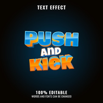 Funny kids push and kick game logo title text effect