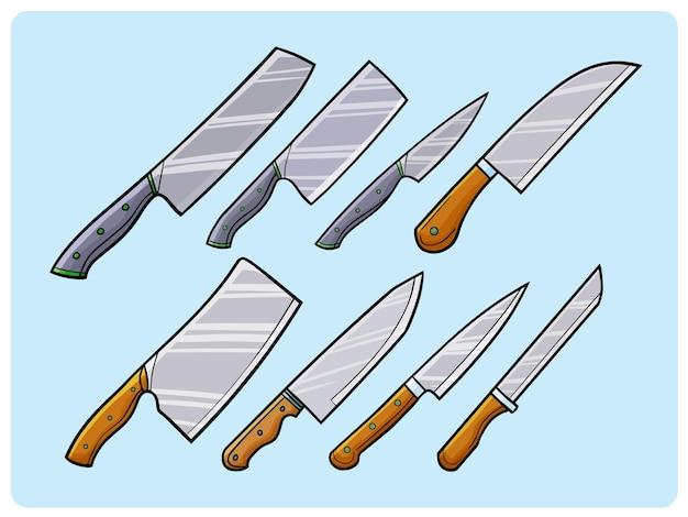 Funny kitchen knife collection in doodle style