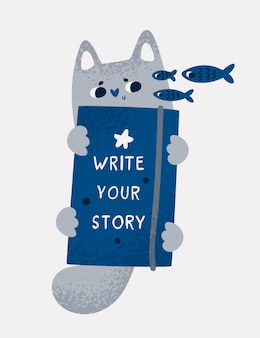 Funny kitty cat pet with diary and positive quote