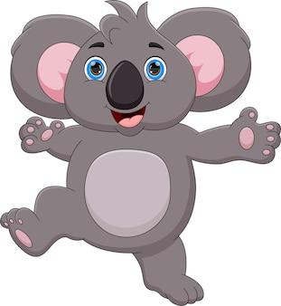 Funny koala cartoon on white background
