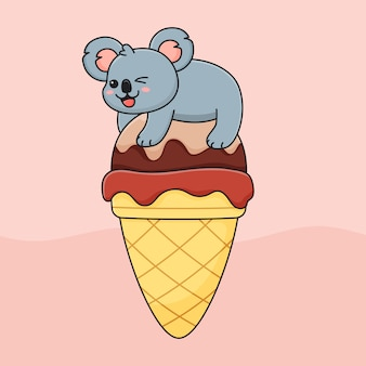 Funny koala on ice cream