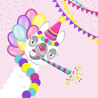재미있는 라마 알파카. 생일 파티. 귀엽고 재미있는 동물의 평면 벡터입니다.