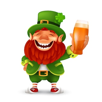 Funny laughing leprechaun wearing cylinder with a shamrock flower and holding light beer glass mascot character illustration to saint patrick's day celebrating isolated on a white background Premium Vector