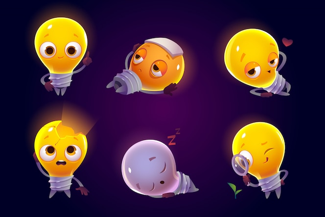Funny light bulbs characters emoji icons set.
