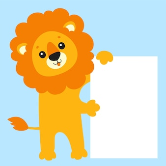 Funny lion cute cartoon character holding white blank poster with place for text