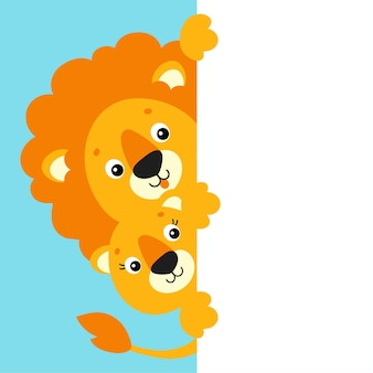 Funny lion and lioness cute cartoon character holding white blank poster