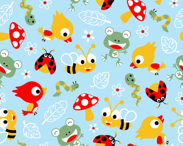 Funny little animals cartoon on seamless pattern vector