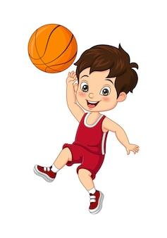 白い背景でバスケットボールをする面白い小さな男の子の漫画