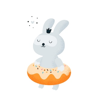 Funny little bunny baby relaxing on the beach, pool. donut and rabbit