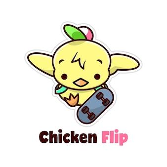 Funny little chicken doing skate board kick flip