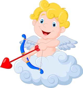 Funny little cupid aiming at someone