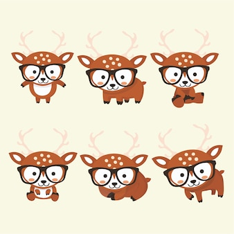 Funny little deer set in different poses. collection  deer in cartoon style.
