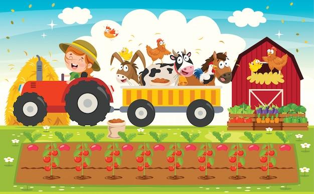 面白い小さな農家の乗馬トラクター