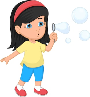 Funny little girl playing bubble cartoon