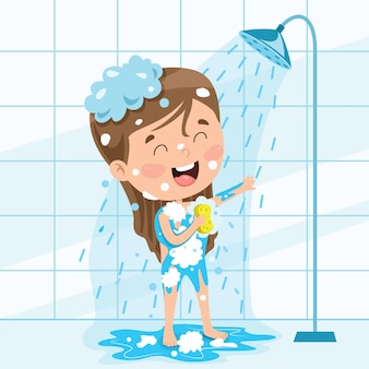 Funny little kid having bath