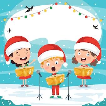 Смешные маленькие дети исполняют музыку
