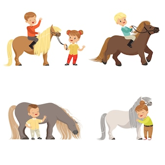 Funny little kids riding ponies and taking care of their horses set, equestrian sport,  illustrations  on a white background