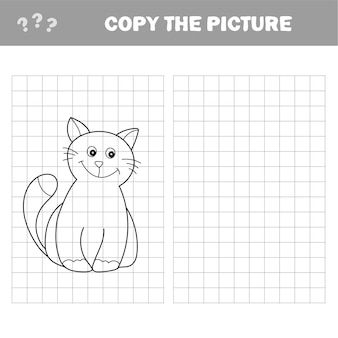 Funny little kitten. coloring book. educational game for children. cartoon vector illustration. copy the picture.