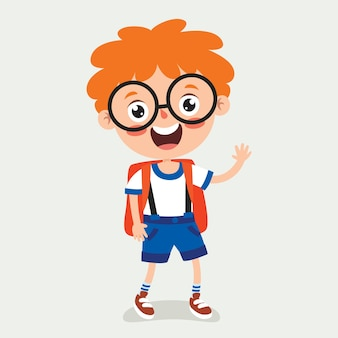 Funny little school kid character