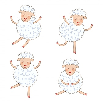 Funny little sheep set in different poses