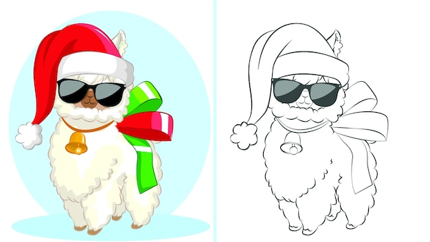 Funny llama with santa hat and black glasses coloring book children.