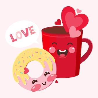 面白い愛のキャラクターの赤いコーヒーマグカップとドーナツ。甘いロマンチックなカップルは幸せと喜びを感じます。シンボルとコンセプトの愛としてのハートのキャラクター