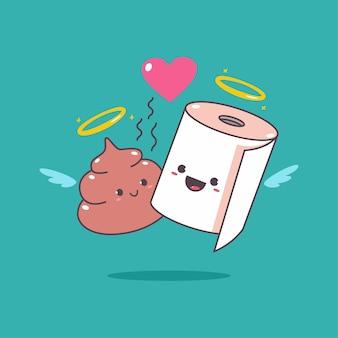 バレンタインデーのための面白い愛情のあるカップルのトイレットペーパーとうんち漫画のキャラクター。