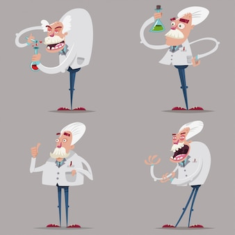 Funny and mad scientist chemist in a lab suit and test tubes.   cartoon character set of old professors conducting a scientific experiment isolated on  .