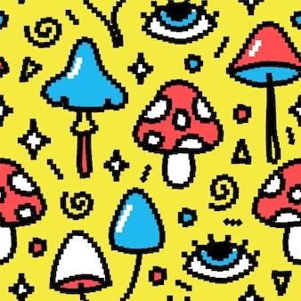 面白いマジックマッシュルームのピクセルアートのシームレスなパターン。ベクトル落書き漫画グラフィックイラストデザイン。トリッピーサイロシビンマジックマッシュルームピクセルアート、8ビット、16ビットスタイルの印刷シームレスパターンの概念