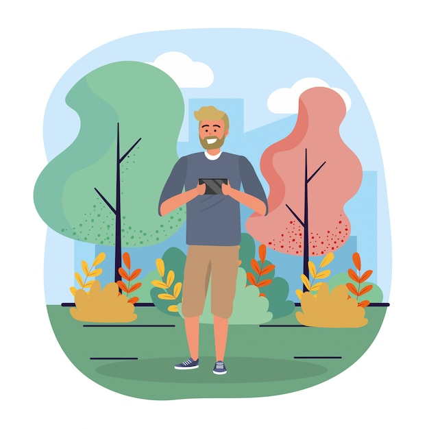 Funny man with smartphone technology and trees