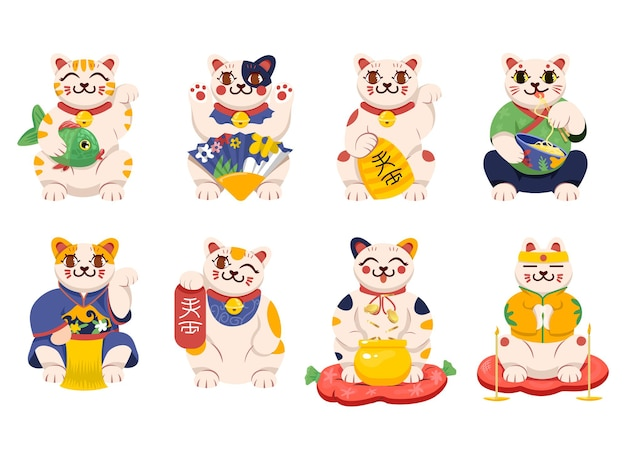 Забавный мультяшный персонаж манэки нэко, набор иллюстраций
