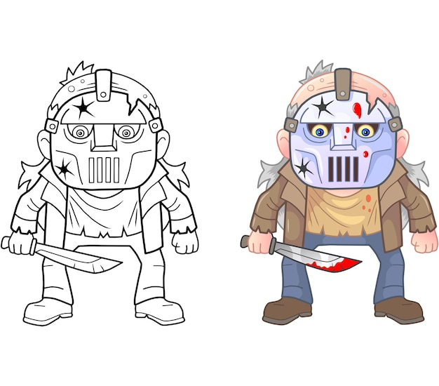 Funny maniac coloring illustration