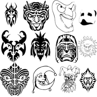 Funny masks collection vector illustrations