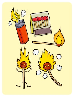 Funny matches collection in simple doodle style
