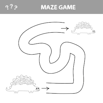 Funny maze for children. help the dino to find friend. kids games