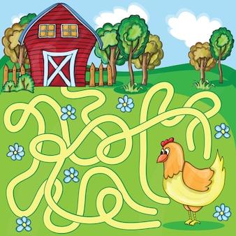 面白い迷宮ゲーム-漫画養鶏場スタイル-ベクトルイラスト