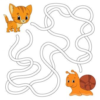 Забавный лабиринт игра для детей. пазл для детей. мультяшный стиль загадка лабиринта.