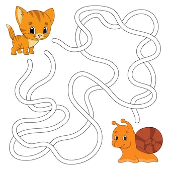 Funny maze. game for kids. puzzle for children. cartoon style. labyrinth conundrum.
