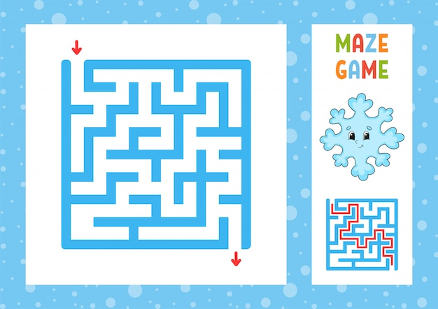 Funny maze. game for kids. puzzle for children. happy character. labyrinth conundrum. color vector illustration.