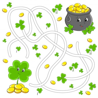 Funny maze for kids. clover, pot. st. patrick's day. labyrinth conundrum.