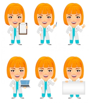 Funny medical doctor woman with big head