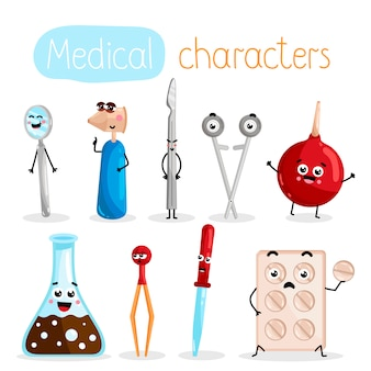 Funny medicine equipment cartoon characters