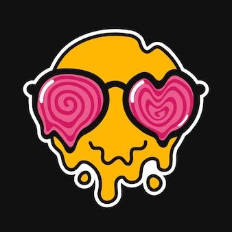 Смешное улыбающееся лицо тает в гипнотических солнцезащитных очках. вектор рисованной каракули мультипликационный персонаж иллюстрации логотип. улыбка смайлик тает, тает, кислота, техно, триповый принт для футболки, плаката, концепции карты